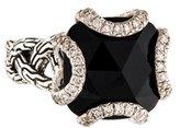 John Hardy Onyx & Diamond Batu Classic Chain Braided Ring