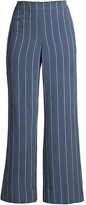 Lafayette 148 New York Riverside Pinstripe Wide-Leg Pants