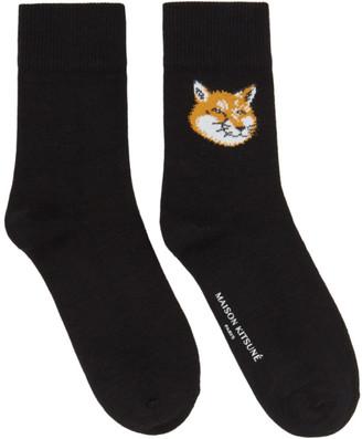 MAISON KITSUNÉ Black Fox Head Socks