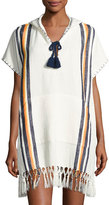 Tory Burch Windwell Beach Hooded Fringed Poncho Coverup, White