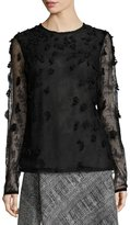Jason Wu Embellished Crewneck Long-Sleeve Blouse, Black