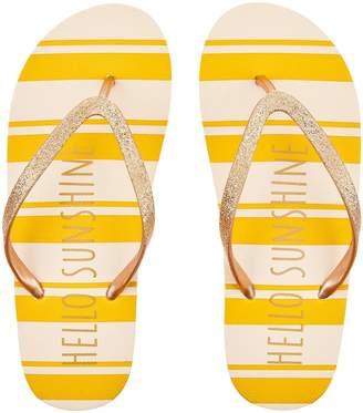 Accessorize Hello Sunshine Stripe Eva Flip Flops - Yellow