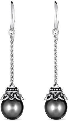 BELPEARL Silver 11Mm Tahitian Dangle Earrings