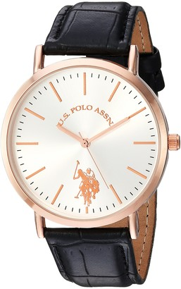 U.S. Polo Assn. Women's Analog-Quartz Watch with Leather-Synthetic Strap Pink 20 (Model: USC42028)