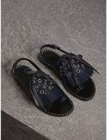 Burberry Kiltie Fringe Leather Sandals