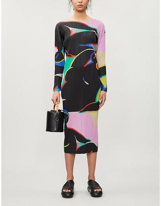 Pleats Please Issey Miyake Geometric-print woven midi dress