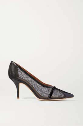 Malone Souliers Brook 70 Patent-trimmed Mesh And Leather Pumps - Black