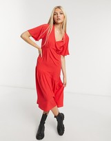 Thumbnail for your product : New Look tier hem midi dress in bright red