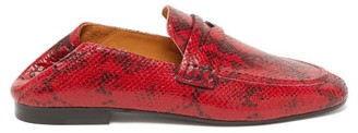 Isabel Marant Fezzy Python-print Leather Penny Loafers - Red