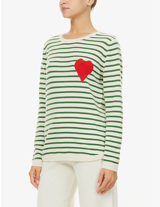 Chinti and Parker Exclusive Breton heart-intarsia cashmere jumper