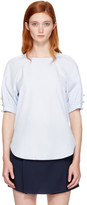 3.1 Phillip Lim Blue Pearl Chain Gathered Blouse