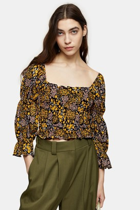 Topshop Womens Tall Floral Print Gypsy Top - Multi