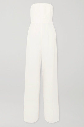 Halston Strapless Layered Crepe And Chiffon Jumpsuit