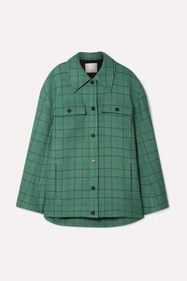 Tibi Oversized Checked Woven Jacket - Mint