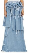 Off-White WOMEN'S DENIM TIERED RUFFLE SKIRT-LIGHT BLUE SIZE S