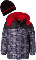 iXtreme Black & Red Abstract Puffer Coat & Beanie - Toddler & Boys