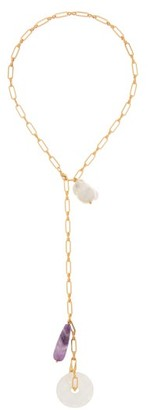 Timeless Pearly Baroque Pearl, Amethyst & Quartz Chain Necklace - Gold Multi