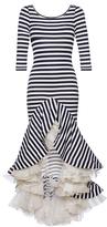 Natasha Zinko Striped Jersey Dress With Ruffles