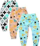 Kids Tales Summer 3-Pack Baby Boys Girls Cartoon Fox Crossed Elastic Waist PP Ankle Pants