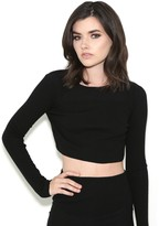 KENDALL + KYLIE Knit Crop Sweater in Black