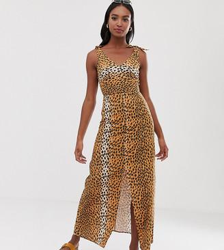 Asos DESIGN Tall tie back linen maxi dress in leopard print