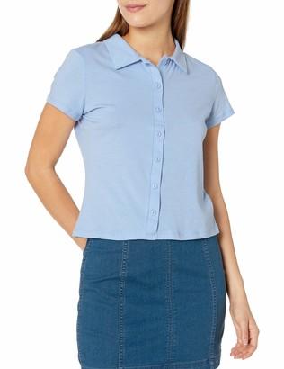 Tresics Women's Trendy Basic Junior Short Sleeve Button Up T-Shirt with Collar