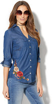 New York & Co. Embroidered Floral Chambray Shirt - Medium Blue Wash