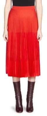 Alexander McQueen Women's Pleated Midi Skirt - Crimson Red - Size Small