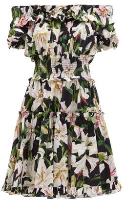 Dolce & Gabbana Ruffled Lily-print Cotton-poplin Bardot Dress - Womens - Black Print