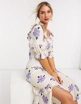 Asos Design DESIGN button through midi tea dress in soft floral print