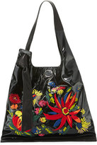 3.1 Phillip Lim Elisa Floral Vinyl Shoulder Bag, Black/Multi