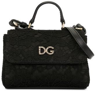 Dolce & Gabbana Kids Crystal-Embellished Lace Shoulder Bag