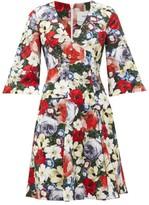 Erdem Yeva Poppy Collage-print Cotton-canvas Dress - Womens - Black Multi