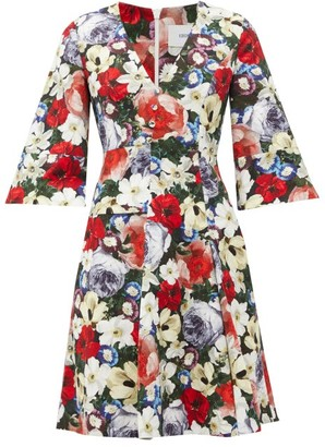Erdem Yeva Floral-print Cotton-canvas Dress - Womens - Black Multi