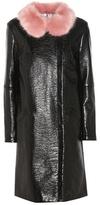 Shrimps Hokus Black Rose Faux Leather Coat