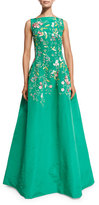 Oscar de la Renta Bateau-Neck Threadwork Embroidered Gown, Clover