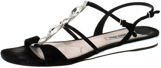 Miu Miu Black Suede Leather Crystal Embellished Strappy Flat Sandals Size 39.5