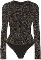 Cushnie et Ochs Beaded Cotton-mesh Bodysuit - Black