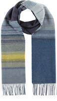 Johnstons of Elgin Cashmere & Merino Scarf In Fine Ombre Stripe - Blue & Yellow