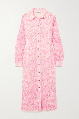 Ganni Floral-print Plisse-georgette Midi Shirt Dress - Pink