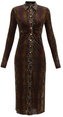 Versace Gathered Snake-print Jersey Midi Dress - Animal