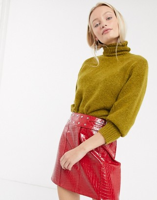 Asos Design DESIGN croc leather look mini skirt with studded belt-Red