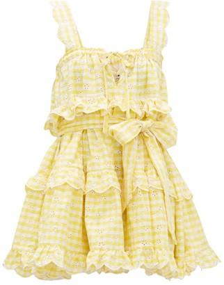 Innika Choo Iva Gudtais Embroidered Linen-gingham Mini Dress - Yellow Print