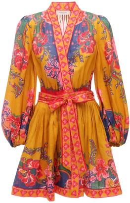 Zimmermann The Lovestruck Linen Wrap Mini Dress