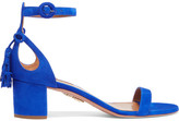 Aquazzura Pixie Bow-embellished Suede Sandals - Bright blue