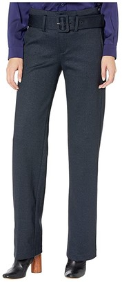 Liverpool Taylor Trousers Belted High-Rise in Heathered Chevron Knit (Navy/Grey) Women's Casual Pants