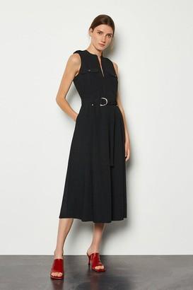 Karen Millen Black Belted Midi Dress
