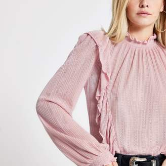 River Island Womens Petite light Pink frill front pointelle top