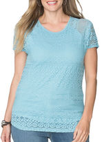 Chaps Plus Lace-Overlay Top