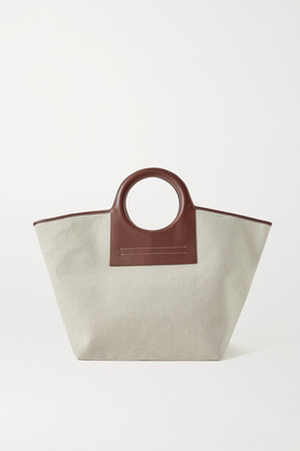 Hereu Cala Large Leather-trimmed Canvas Tote - Brown